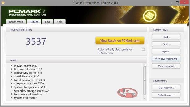 Hasil Benchmark dari PCMARK 7